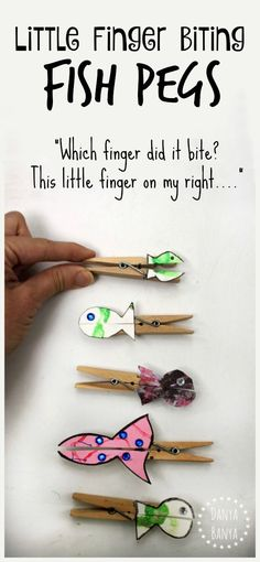 Little finger biting fish pegs craft to go with the nursery rhyme 1,2,3,4,5, once I caught a fish alive