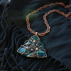#Statement #necklace #agate necklace #ocean #blue by #wirefoxjewellery