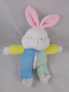 "Soft Dreams Rabbit Rattle Plush Pastel Terry Cloth 9.5"" to top of head #SoftDreams"