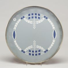 VILLEROY & BOCH drink serving tray, metal round frame with ceramic roundel, Secessionist design with squares and garlands