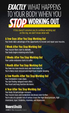 Here's What Happens to Your Body When You Take a Break from Working Out  http://www.womenshealthmag.com/fitness/when-you-stop-working-out?cid=soc_Women%2527s%2520Health%2520-%2520womenshealthmagazine_FBPAGE_Women%2527s%2520Health__