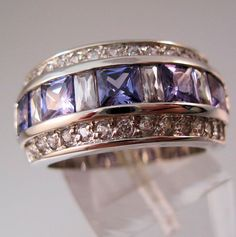 $29.99 Vintage Amethyst & Clear Cubic Zirconia Sterling Silver Band Ring Size 7.5 Jewelry Jewellery by BrightEyesTreasures on Etsy