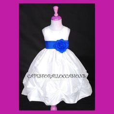 IVORY ROYAL BLUE FLOWER GIRL DRESS