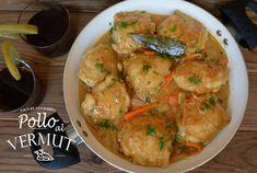 POLLO AL VERMUT, Salpimentamos los contramuslos de pollo y los pasamos por harina, quitando el exceso. Doramos el pollo a fuego fuerte en una cazuela con aceite de oliva virgen ext