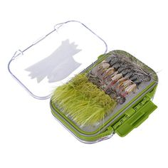 Hisea 64 Assortment Fly Fishing Flies Box Set for Trout- Wet / Dry / Streamer Flies Collection Fly Kit +Double Side Waterproof Pocket Tackle Box