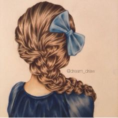 Lovely hair drawing with bow