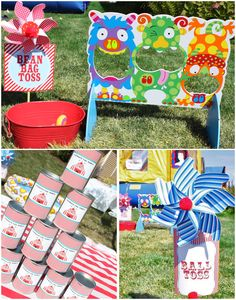 "Whirling pinwheels mark each carnival game: ""I ... made signs for each game, hot glued the signs to the sticks, and added red pom poms to keep with my subtle 'clown nose' theme..."""