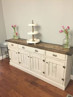 dining room buffet so pretty love the two tone finish! Rustic Planked wood sideboard Anna-white diy #diningroomideasrustic