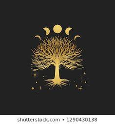 Immagine vettoriale stock 1290430138 a tema Sacred Tree Vector Hand Drawn Illustration (royalty free) Artist Portfolio, Moon Art, Wicca, Book Of Shadows, Tree Art, Mandala Art, Sacred Geometry, Vector Hand, Art Inspo