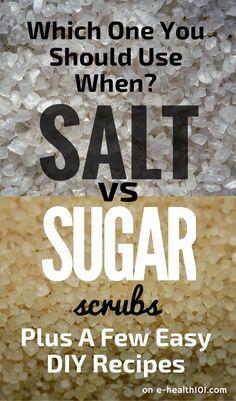 Salt vs Sugar Scrubs: Which One You Should Use When (Plus A Few Easy DIY Recipes) #scrubs #diy More