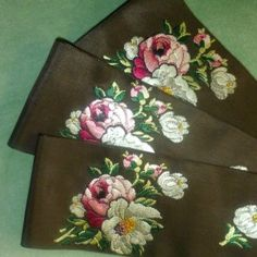 19th Century French SILK Damask Woven Roses Ribbon