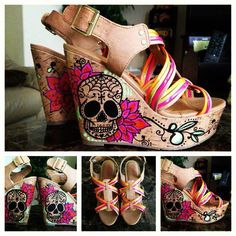 I gotta have these...Custom Sugar Skull Wedges Women's. $95.00, via Etsy.