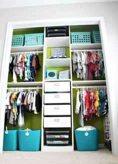 Baby boy nursery closet - DIY nursery decor - navy green gray - This is our Bliss organization ideas master shared Nursery Closet Makeover Details Beautiful Boys, Baby Boys, Nursery Closet Organization, Organization Ideas, Storage Ideas, Baby Storage, Smart Storage, Storage Baskets, Kitchen Organization