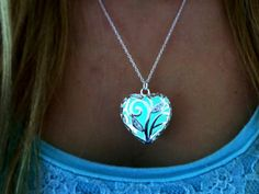 Glow in the Dark Sterling Silver Heart Necklace by TimelessMaiden