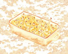 """Comfort Food"" mac & cheese print by Monica Ramos. #MalloryMcInnis"