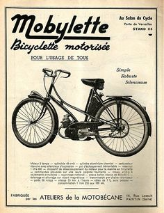 Motobécane delivered its new Bronze Age at the 1960 Paris Salon - with the fantastic new Vintage Moped, Vintage Bicycles, Electric Trike, Powered Bicycle, Motorcycle Posters, Motorized Bicycle, Bronze Age, New Model, Cool Bikes