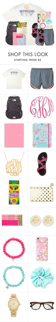 """day 2//school supply shopping"" by thefashionbyem ❤ liked on Polyvore featuring Vineyard Vines, NIKE, The North Face, Lilly Pulitzer, Chaco, Kate Spade, Tory Burch, Sydney Evan, Michael Kors and Ray-Ban"