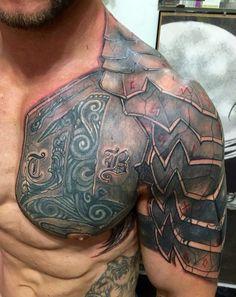 40 Super Cool Superhero Tattoos That Will Blow Your Mind - Animated Times - - Schulterpanzer Tattoo, Norse Tattoo, Celtic Tattoos, Viking Tattoos, Hulk Tattoo, Warrior Tattoos, Badass Tattoos, Body Art Tattoos, Tattoos For Guys