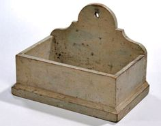 Skinner's - Ellie Hoover Collection. August 9, 2015. Lot : 1362. Estimate $400-600. Realized: $800. Description: Gray-painted Chestnut Wall Box, America, 19th century, the dovetail constructed box with shaped back and molded base, old surface, gray over earlier light blue paint, (minor wear), ht. 9, wd. 12 5/8, dp. 7 5/8 in.
