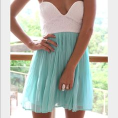 Sabo Skirt Tea Mint Blue And White Dress
