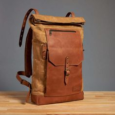 Waxed canvas backpack Mens / Womens canvas leather by InnesBags