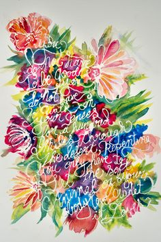 Wild Geese by Mary Oliver/ Poem/ Masking Fluid Watercolor Flowers
