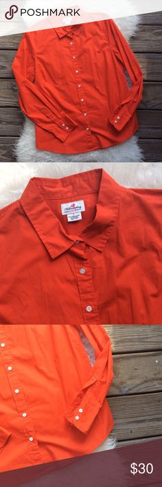 "J. Crew Haberdashery Button Down Shirt Good condition J. Crew Haberdashery orange red button down shirt. Tailored fit size Large. Stretchy with 97% cotton, 3% spandex. Slight black smudge on inside of back collar visible in picture 2 above the tag. Shoulder seam to shoulder seam across the back 16"", bust 42"", length26"", sleeve length 25.5"". No trades, offers welcome. J. Crew Tops Button Down Shirts"