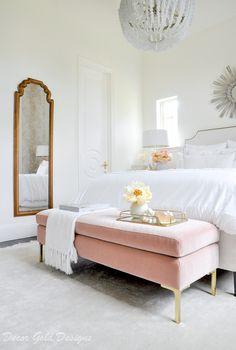 How to Create a Designer Bedroom – Decor Gold Designs Beautiful designer bedroom white bedding pink velvet bench Pink Master Bedroom, Velvet Bedroom, White Bedrooms, White Gold Bedroom, Neutral Bedrooms, Bedroom Bed, Bed Room, Pink Bedding, White Bedding