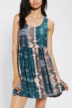 Ecote Silky Peek-A-Boo Back Babydoll Dress #urbanoutfitters