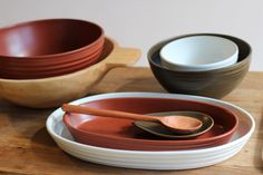 Mimi Robinson Design: hand thrown ceramic stoneware in  espresso brown, terracotta and cream