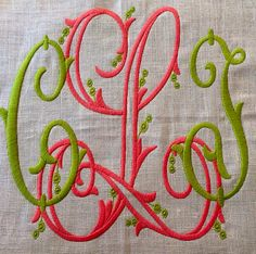 Number Four Eleven: Happenings Diy Embroidery Monogram, Monogram Styles, Monogram Fonts, Monogram Letters, Monogram Initials, Embroidery Applique, Machine Embroidery, Embroidery Designs, Fabric Wallpaper
