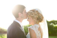 Natural Curls Bridal Updo Lace Wedding Dress