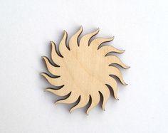 Bright laser engraved SUN wood pendant / Laser cut wood / Sun