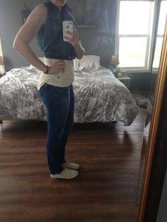 Today's Outfit, Jean Vest, Boyfriend Jeans, Label, Slim, Bracelet, Pants, Outfits, Tops