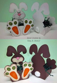 "Easter Baskets - pattern from My Scrap Chick ""Trio of Bunnies"" Bunny Crafts, Easter Crafts, Crafts For Kids, Spring Crafts, Holiday Crafts, Easter Bunny, Easter Eggs, Easter Coloring Pages, Diy Ostern"