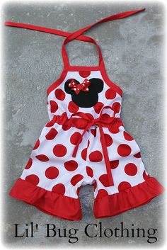 Minnie Mouse White Red Jumbo Dot 1 Piece Jumper Ruffled Short Disney Outfit Girl. $44.00, via Etsy.
