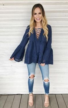 Collin-Navy lace up top