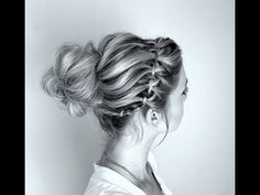 How to: Waterfall braid and Twisted Messy Bun - YouTube