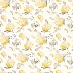 Hydrangea Camomile Floral Wallpaper by Laura Ashley Hydrangea Wallpaper, Grey Floral Wallpaper, Print Wallpaper, Wallpaper Roll, Pattern Wallpaper, Wallpaper Samples, Wallpaper Ideas, Laura Ashley, Yellow Cottage