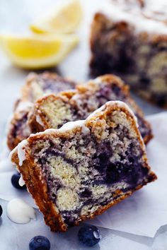 An amazingly moist muffin bread filled with blueberry pie filling. Topped with a crumb topping and drizzled in a lemon ...