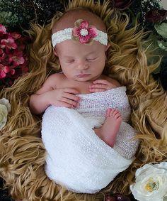 Love this Ivory & Mauve Lace Flower Headband on #zulily! #zulilyfinds