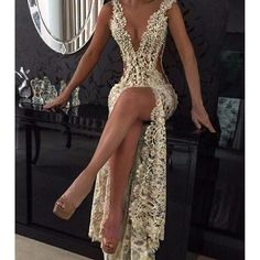 2017 Sexy Lace Prom Dresses Sheer Plunging Neck Front Slit Evening Dress