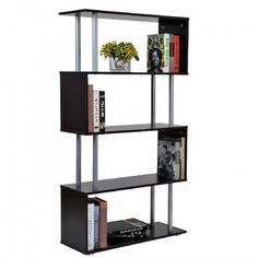 Black Gloss Bookcase Modern Display Living Room Furniture Office Storage Shelves