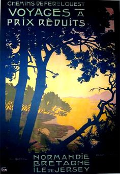Georges Dorival (1879-1968), Normandie et Bretagne, France . Vintage travel poster #affiche #chemin #essenzadiriviera.com