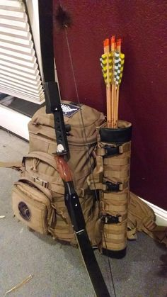 Tactical Arrow Quiver arrived Get Recurve Bows at… Zombie Survival Gear, Survival Weapons, Camping Survival, Survival Prepping, Survival Skills, Zombies Survival, Disaster Preparedness, Wilderness Survival, Crossbow Hunting