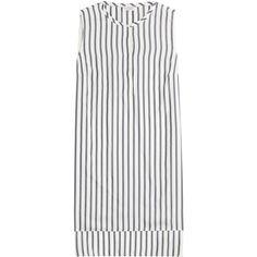 Brunello Cucinelli Striped Silk Dress (22,375 MXN) ❤ liked on Polyvore featuring dresses, vestidos, stripes, striped dress, high low summer dresses, sleeveless summer dresses, white striped dress and white high low dress