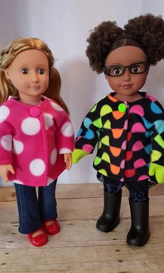 "Jacket, Mittens and Snow Pants for 18"" doll. Made from cozy fleece. Pattern created by Crafty Girls of Avon. Fits all 18 inch dolls including AG."