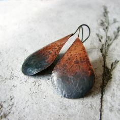 Hammered copper earrings ombre oxidized sterling by noblegnome, $34.00
