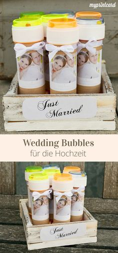 Voll im Trend: Wedding Bubbles für die Hochzeit. Die Seifenblasen könnt ihr al… Trendy: Wedding Bubbles for the wedding. The soap bubbles you can prepare as a small gift and your guests may welcome you, for example, to leave the church with soap bubbles. Wedding Trends, Trendy Wedding, Unique Weddings, Wedding Ideas, Wedding Tags, Post Wedding, Wedding Favors, Craft Wedding, Handmade Wedding