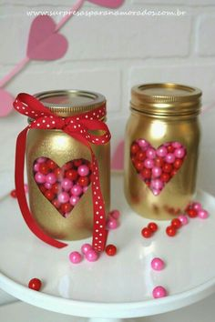 Valentine's Day mason jar crafts are perfect for gifting, using as luminaries and for creating centerpieces. Pick from the romantic and cute mason jar ideas for Valentine's Day and be creative in expressing your love. Homemade Valentines, Valentines Day Party, Valentine Day Crafts, Valentine Ideas, Valentines Day Baskets, Love Valentines, Pot Mason Diy, Mason Jar Gifts, Mason Jars